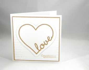 Engagement card with Heart Carved on Tree in Kraft and White