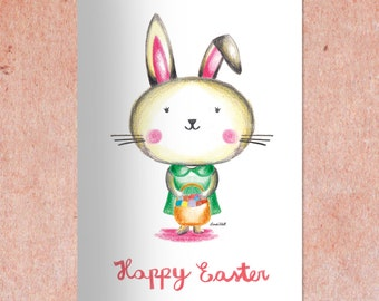 Easter card printable, DIY Easter card, Easter decor, INSTANT DOWNLOAD,  Easter Bunny Card, Easter Egg, Easter gift, Greeting card