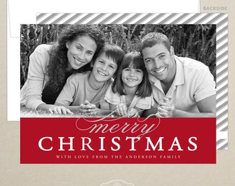 Merry Christmas Family Photo Card - Holiday Card - Christmas Card - Personalized - Photo Card - Digital or Printed