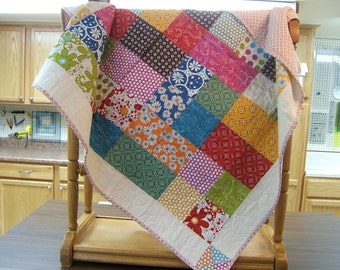 Funky Lap Quilt, Multi Colored Quilt, Teenager Quilt, Hippy Quilt, Young Adult, Groovey Quilt, That 1970s Quilt, Lap Quilt, Crazy Quilt