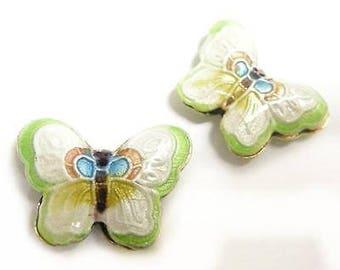 2pc 23x17mm handmade butterfly Cloisonne Beads-2555
