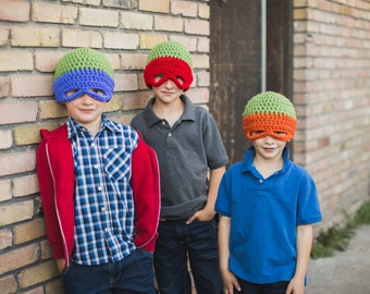 Crochet Pattern Teenage Mutant Ninja Turtles Hat Pattern. Instant Digital download CP211NTH