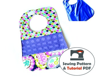 Bib with 3 Panels or Solid Bib - Instant Download Sewing Pattern & Tutorial