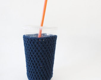 navy blue iced coffee cozy. Crochet coffee cozy. cup cozy. Cotton cup sleeve. Eco friendly cup jacket. Summer drink cozy blue cup sleeve.