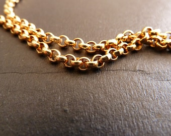 Necklace plated gold link Belcher 3.5 mm with clasp