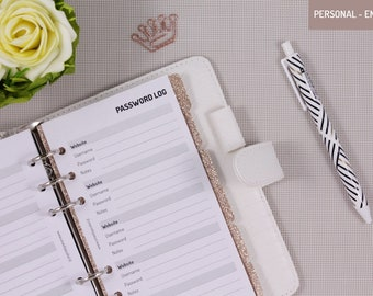 Printed Personal Planner Inserts Password Log - Printed Personal Planner Pages for functional planning