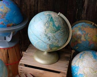 "Pale Blue 12"" World Portrait Globe on Bronze Metal Base, Rand McNally Globe, 12"" Blue Green World Globe,Vintage Rand McNally Globe,"