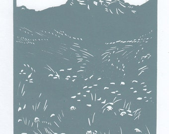 Three Sisters Meadow Linocut Art, Hand Pulled Art, Limited Edition, Printmaking Original, Canmore