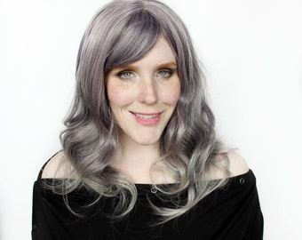Gray wig | Long Grey wig, Wavy wig | Ombre wig with bangs | Curly Gray wig | Amethyst Chrome