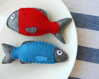 Set of 2 refrigerator magnets.Fish magnets.Valentine gift for a couple.Felt magnets.Kitchen Decor
