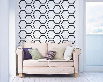 Hexagon Wall Decal, Hexagon Wall Art, Geometric Wall Decal, Apartment Therapy, Decor for Kids, Modern Nursery Decor, Mid Century Wall Decor