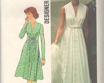 1970s Simplicity 6672 Misses Goddess Dress Pattern Designer Fashion Womens Vintage Sewing Pattern Size 14 Bust 36