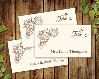 "Vineyard Wedding Place Card Template, FLAT. ""Wine Country"" Wedding Printable Placecard - Brown Grapes. DIY Printable and Editable Templates."
