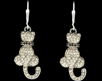 Cat Rhinestone Earrings