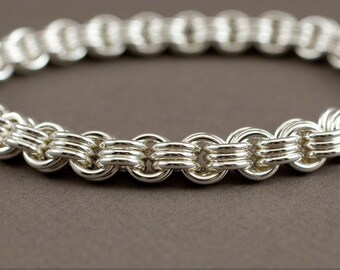 3 in 3 Sterling Silver Chainmaille Handmade Bracelet