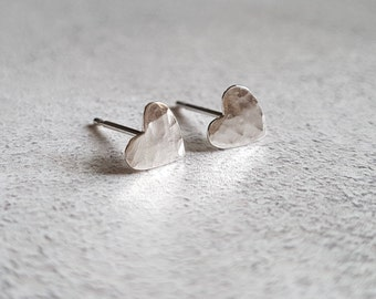 Heart Stud Earrings - Hammered Heart Stud Earrings - Stud Earrings - Hammered Hearts - Small Stud Earrings - Silver Stud Earrings - Studs