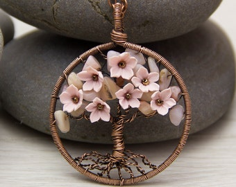 "Tree-Of-Life Necklace Pendant 1.8"" Copper Wire Wrapped Pendant Wired Copper Jewelry Wire Wrapped Modern Tree Pink Opal Necklace Rustic JF19"