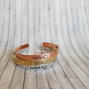 Mama bear- Hand Stamped Bracelet Cuff - Gift -  Christmas Gift - Message Jewelry - Custom Jewelry silver, gold, copper