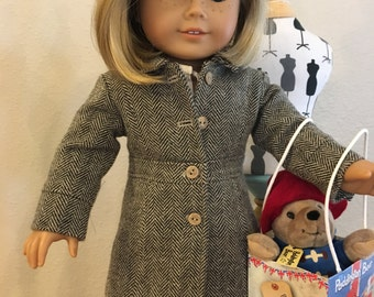 "Le Marais Coat, Brown Herring Bone Wool for 18"" Doll"