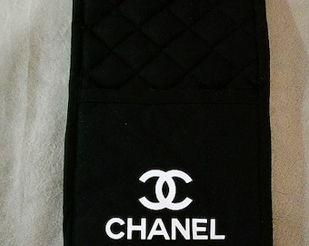 Black CC Chanel Inspired Oven Mitts Gloves