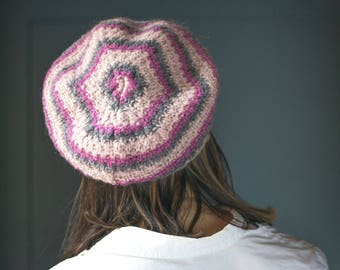 Vintage French Style Beret Pink Rose Grey. Wool and Mohair Beret Fun. Painter Beret French fashion. Boho Beret Lady Accessory Small S size.