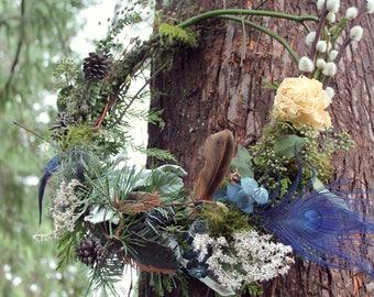 custom centerpiece wreath, blue flower wreath, dried flower centerpiece, lavender wreath, lavender wedding bouquet, dusty blue, thistle