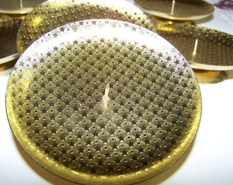 set of 10 BRASS PLATE HOLDER embossed with stars