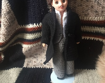 1970 VINTAGE creepy boy doll with knitted clothes. HANDMADE. Retro/antique toys.