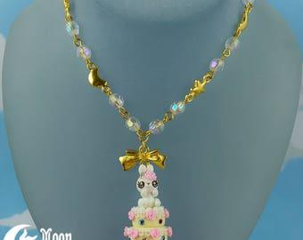 Rüschen Kuchen Hase 5   Halskette   Sweet Lolita Mode   Kawaii Häschen   Rose