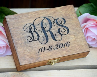 Monogrammed Ring Bearer Box - Shabby Chic Wedding - Ring Bearer Pillow Alternative Personalized Ring Box - Rustic Wedding Wedding Ring Box