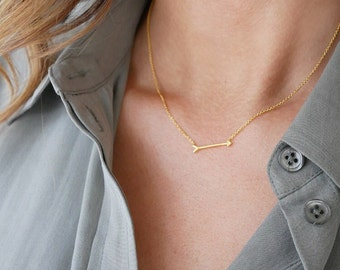 Gold Arrow Necklace | Gold | Sideways Arrow Necklace