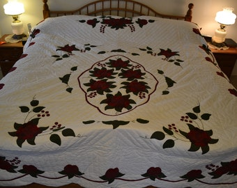"Amish Celtic Rose Lg Queen/King quilt, 95"" x 113"""