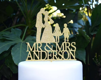 Mr & Mrs Wedding Cake Topper  - Bride and Groom and Kids/Children Personalized