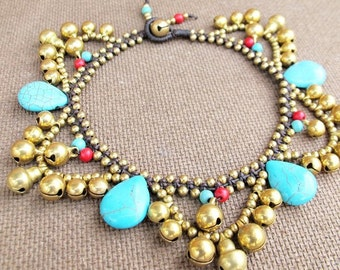 Boho Ankle Bracelet with Stones