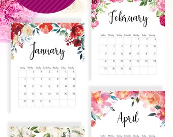 Printable calendar 2018 (floral, with space to fill events), US version, US letter size