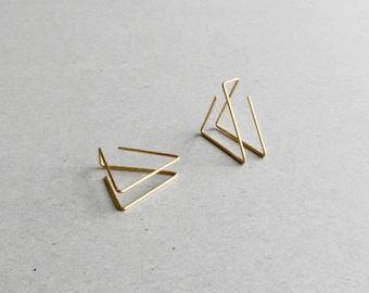 Minimal Triangle Earrings - Dainty Earrings for Her - Triangle Ear Jacket - Gold filled Ear Jacket - Thin Line Earrings - Girlfriend Gift