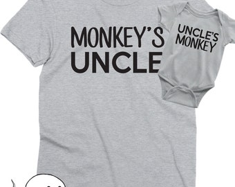 Uncle and Nephew Shirts - Uncle and Niece Shirts - Monkey Shirts - New Uncle Shirt - Uncle Gift - Brother in Law Gift - Matching Shirts 9mR5sNxoTb