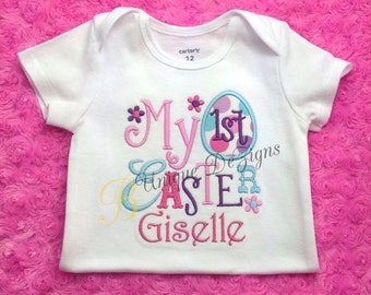 My 1st Easter Shirt, Applique Easter Egg Shirt, Girls Easter Flower Shirt, Girls Tops
