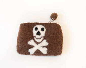 Hand-felted wallet with zipper and skull