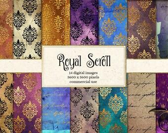 Royal Scroll Digital Paper, vintage gold foil and black glitter damask patterns, printable scrapbook paper instant download commercial use