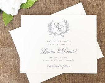 Laurel Wreath Save the Dates, Laurel Wreath Monogram Save the Date Cards, Laurel Wreath Wedding Save the Dates, Classic Gray Save the Dates