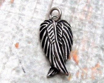 Wing Charm, Stainless Steel Angel Wings - Set of 2 SST Findings 8.5x16x2.5mm Small Double Wing Charm  (124)