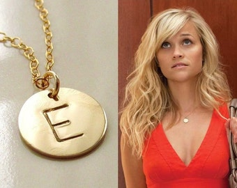 Initial Necklace, Gold Disc Necklace, 14kt Gold Filled, Monogram Initial Necklace, Personalized Initial Necklace, Mother's Day Gift
