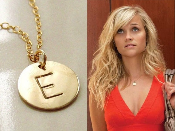 Initial necklace gold disc necklace 14kt gold filled aloadofball Gallery