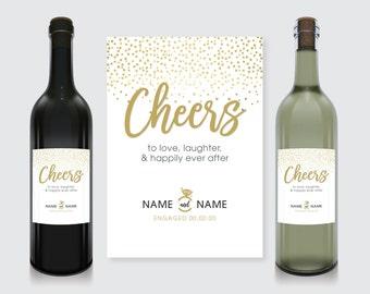 Cheers! Engagement Wine Bottle Label