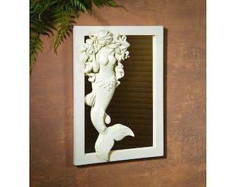 Mermaid Mirror.  Mermaid Wall Decor. Mermaid Wall Mirror. Mermaid Decor. Mermaid Art. Nautical Decor. Nursery Decor. Beach Decor. Coastal