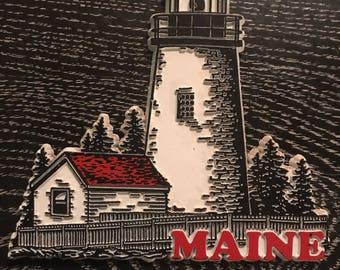 Vintage Magnet. Maine Magnet. Vintage Maine Magnet. Maine Souvenir. Maine Refrigerator Magnet.