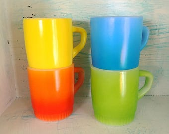 Vintage Anchor Hocking Fire King Stackable Mugs Primary Rainbow Colors Orange Blue Green Yellow