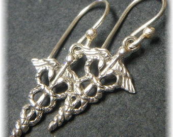 Sterling Silver Caduceus Medical Symbol Earrings - Great Nurse or Doctor Gift - Handmade