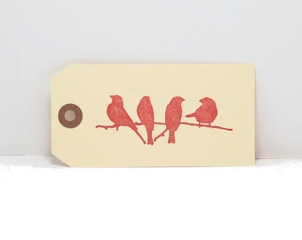 12 Manila Gift Tag stamped with Birds on a Branch, Bird Gift Tags, Bird Tags